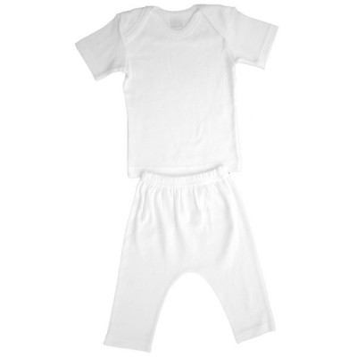 White Interlock Short Sleeve Lap T-Shirt & Long Pants Set