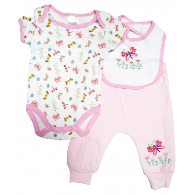 Girl's Print Interlock 3-Piece Infant Starter Set