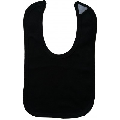 2-Ply Interlock Solid Black Infant Bib