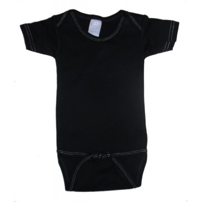 Black with White Stitching Interlock Short Sleeve Onezie