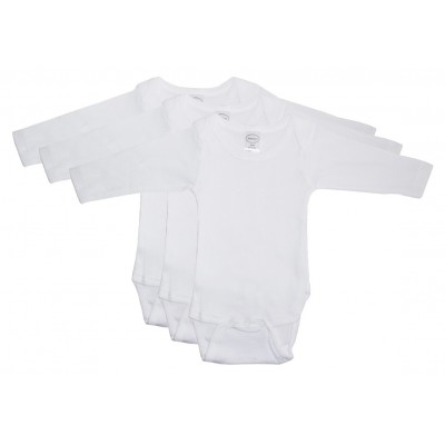 Rib Knit White Long Sleeve Onezie 3-Pack