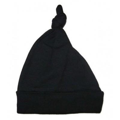 Black Interlock Knotted Baby Cap