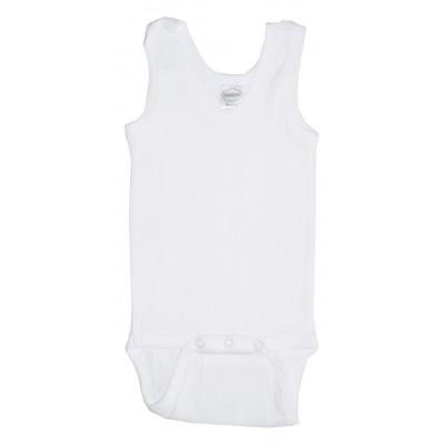 Rib Knit White Sleeveless Tank Top Onezie 3-Pack