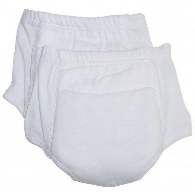 Rib Knit White Training Pants 2-Pack