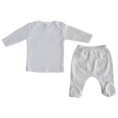 White Interlock Long Sleeve Shirt & Closed-Toe Pants Set
