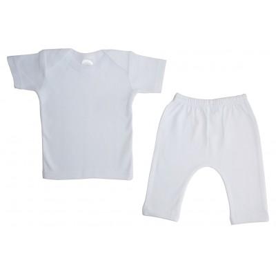 White Interlock Short Sleeve Lap T-Shirt & Long Pants Set