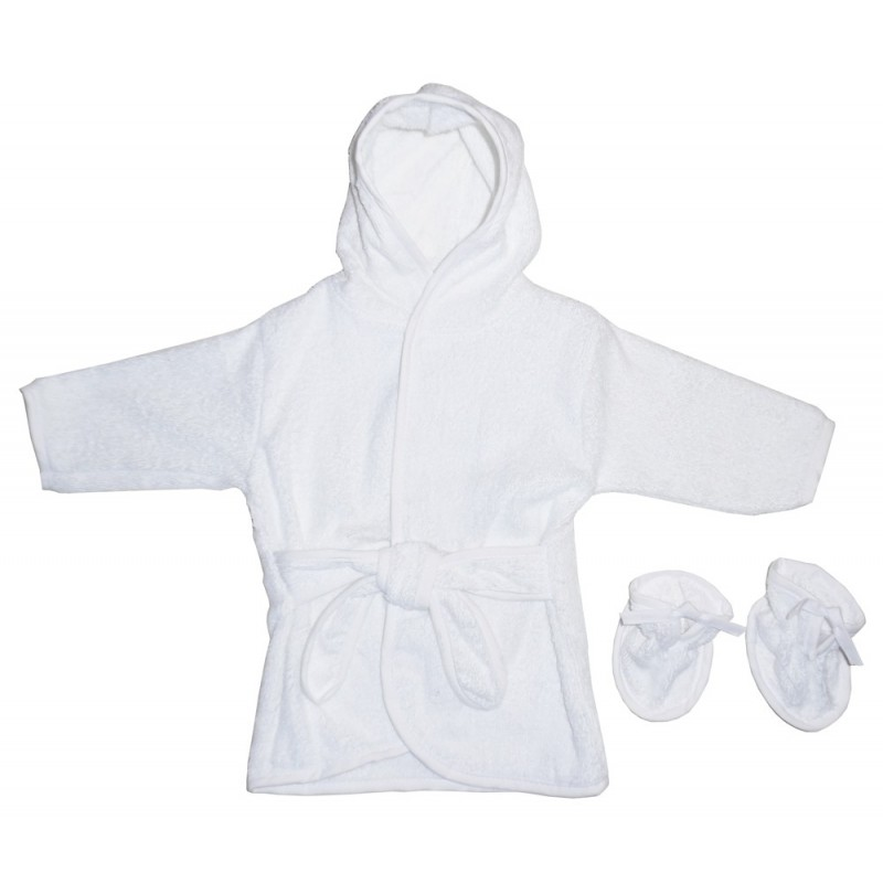 White Terry Hooded Bath Robe