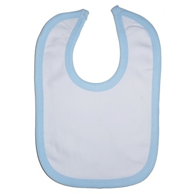 2-Ply Interlock White with Blue Trim Infant Bib