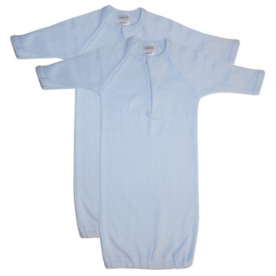 Preemie Blue Rib Knit Gown Solid Color 2-Pack