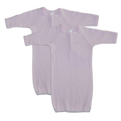 Preemie Pink Rib Knit Gown Solid Color 2-Pack