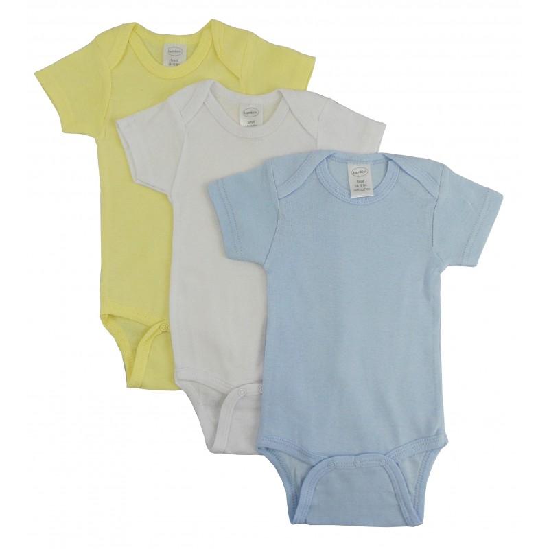 Boy's Rib Knit Pastel Short Sleeve Onezie 3-Pack