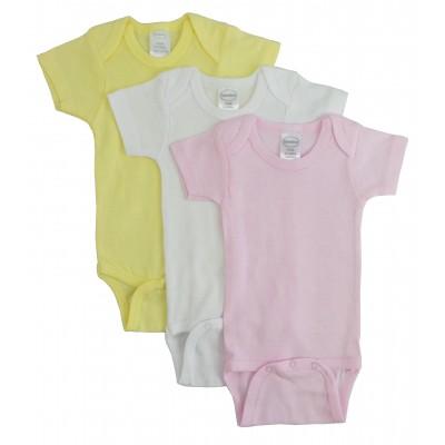 Girl's Rib Knit Pastel Short Sleeve Onezie 3-Pack