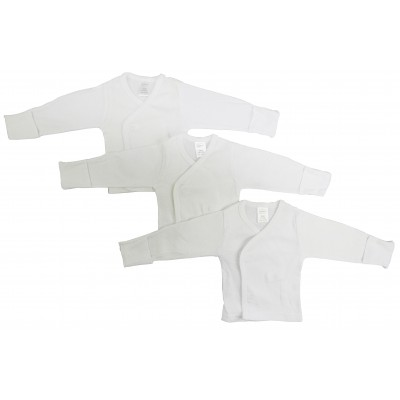 Preemie Rib Knit White Long Sleeve Side-Snap Shirt 3-Pack