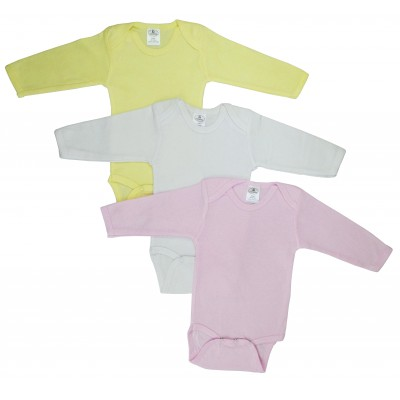 Girl's Rib Knit Pastel Long Sleeve Onezie 3-Pack