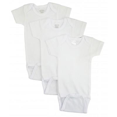 Rib Knit White Short Sleeve Onezie 3-Pack