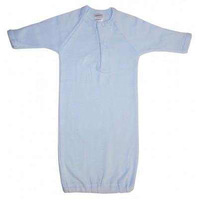 Preemie Blue Rib Knit Gown