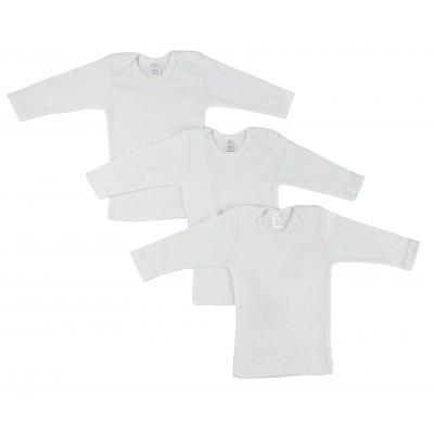 Rib Knit White Long Sleeve Lap T-Shirt 3-Pack