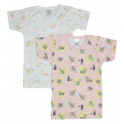 Bambini Girl's Interlock Print Short Sleeve Lap T-Shirt 2-Pack