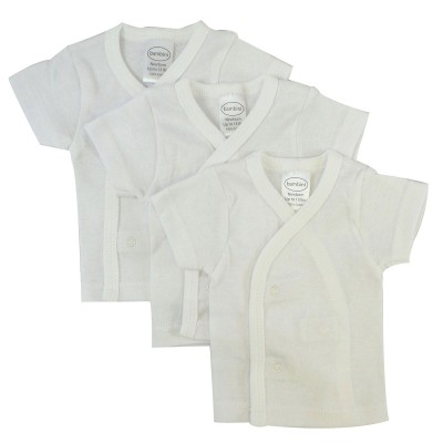Rib Knit White Short Sleeve Side-Snap Shirt 3-Pack