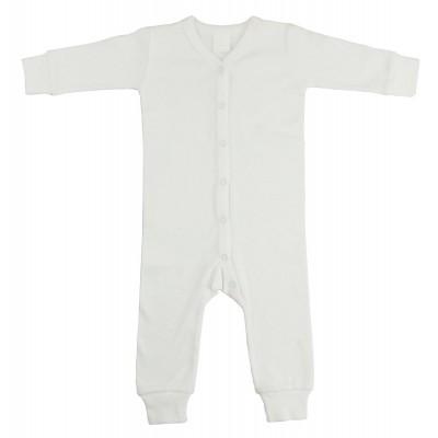 Interlock White Union Suit Long Johns