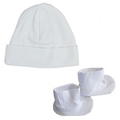 Rib Knit White Cap & Booties Set