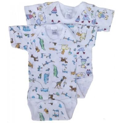 Boy's Interlock Print Short Sleeve Onezie 2-Pack
